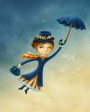 Vrouw die met een paraplu vliegen stock illustratie