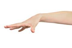 Vrouw die met haar hand aantonen dat zij iets vrijgaf Royalty-vrije Stock Afbeeldingen