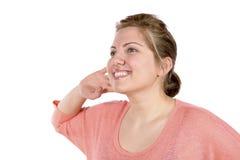 Luister vrouw met hand bij oor stock foto's