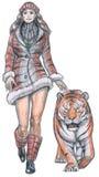 Vrouw die met tijger loopt Royalty-vrije Stock Afbeelding