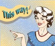 Vrouw die met toespraakbel vinger richten aan de juiste richting Vectorillustratie in retro grappige pop-artstijl royalty-vrije illustratie