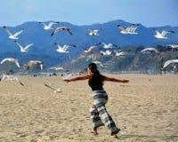 Vrouw die met zeevogels op het strand vliegen Stock Foto's