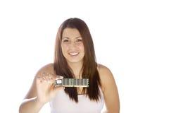 Vrouw die module SDRAM hodling royalty-vrije stock foto's
