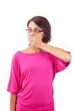 Vrouw die mond behandelt Royalty-vrije Stock Afbeeldingen
