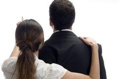Vrouw die naar en van rug richt stelt Royalty-vrije Stock Foto