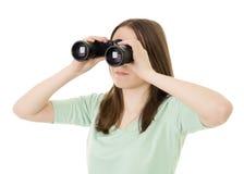 Vrouw die naar informatie op zoek is Stock Afbeelding