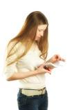 Vrouw die nota's maakt royalty-vrije stock foto