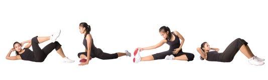 Vrouw die oefening doet, die op wit wordt geïsoleerd¯. Stock Afbeelding