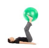 Vrouw die Oefening Pilates doet Royalty-vrije Stock Foto