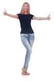 Vrouw die omhoog geïsoleerde duimen geeft Stock Afbeeldingen