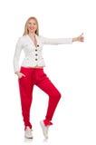 Vrouw die omhoog geïsoleerde duimen geeft Stock Afbeelding