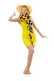 Vrouw die omhoog geïsoleerde duimen geeft Stock Fotografie