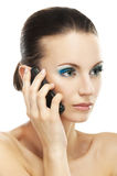 Vrouw die op celtelefoon spreekt Stock Foto
