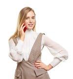 Vrouw die op een Telefoon van de Cel spreekt Stock Foto
