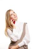 Vrouw die op een Telefoon van de Cel spreekt Royalty-vrije Stock Afbeeldingen