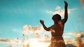 vrouw die op haar knieën bidden het levensstijlmeisje vouwde haar indient gebedsilhouet bij zonsondergang langzame geanimeerde vi stock videobeelden