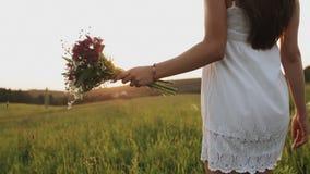 Vrouw die op het gebied met boeket van wilde bloemen op de zomeravond gaan Het lopen in weide bij zonsondergang stock videobeelden