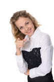 Vrouw die op iets door een vinger toont Royalty-vrije Stock Foto's