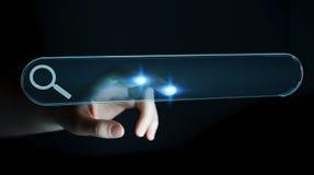 Vrouw die op Internet surfen die tastbare website bar 3D rende gebruiken Stock Afbeelding