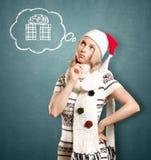 Vrouw die op Kerstmis wacht Stock Afbeelding