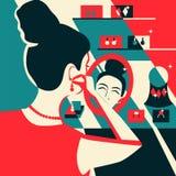 Vrouw die op oorringengenoegen proberen van aankoop Illustratie voor tijdschriften, plaatsen, verkoop en kortingen stock illustratie