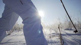 Vrouw die op ski lopen stock videobeelden