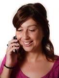 Vrouw die op telefoon spreekt Stock Afbeelding