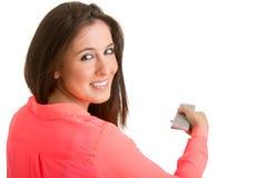 Vrouw die op TV let Stock Afbeeldingen