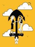 Vrouw die op vliegend Schipanker behandelen royalty-vrije illustratie