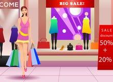 Vrouw die op waanzin winkelen Stock Foto