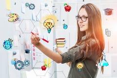 Vrouw die op whiteboard, onderwijs trekken stock afbeelding