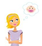 Vrouw die over zwangerschap/babymeisje droomt Stock Foto's