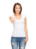Vrouw die overwinning of vredesteken tonen Stock Foto