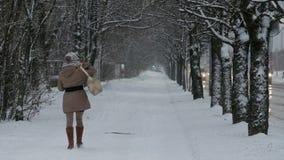Vrouw die in park bij de winter lopen stock videobeelden