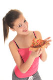 Vrouw die pizza eet Royalty-vrije Stock Foto