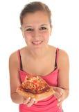 Vrouw die pizza eet Royalty-vrije Stock Fotografie