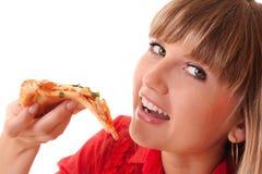 Vrouw die pizza eet Stock Foto