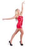 Vrouw die in rode kleding dansen Royalty-vrije Stock Foto's
