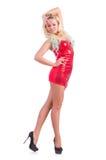 Vrouw die in rode kleding dansen Stock Foto