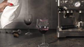 Vrouw die rode wijn gieten in glazen dicht omhoog - Twee leeg wijnglas stock footage