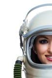Vrouw die ruimtehelm dragen Stock Fotografie