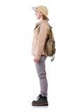 Vrouw die safarihoed op wit dragen Stock Foto