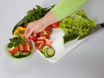 Vrouw die salade 2 maakt Royalty-vrije Stock Afbeelding