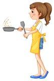 Vrouw die schort het koken dragen stock illustratie