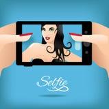 Vrouw die selfie spreken Royalty-vrije Stock Afbeelding