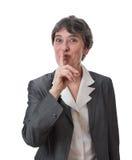 Vrouw die shh zegt Royalty-vrije Stock Fotografie