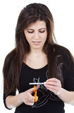 Vrouw die sigaret vernietigt Stock Afbeelding