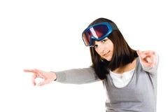 Vrouw die skiër beweert te zijn Stock Fotografie