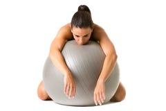Vrouw die In slaap in de Gymnastiek vallen Stock Foto