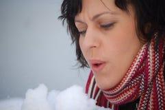 Vrouw die sneeuw wegblaast Stock Fotografie
